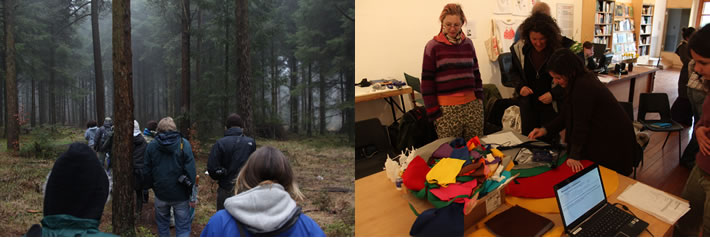 Images of the students in the woods and working in CCANW's gallery