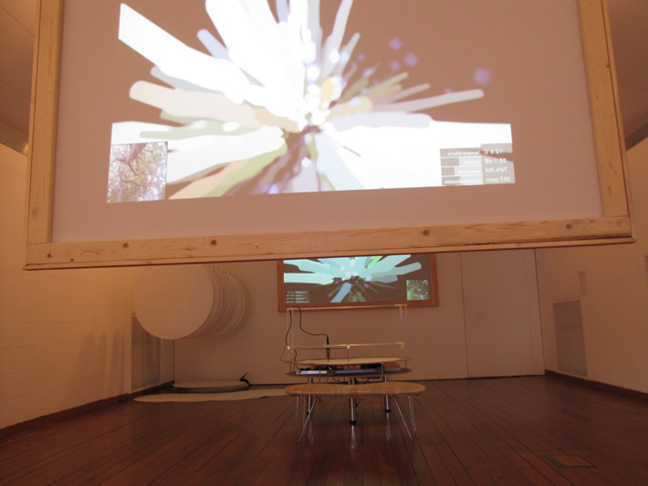 screens with visualisations of trees in Brazil and UK, climate machine and sheets at CCANW